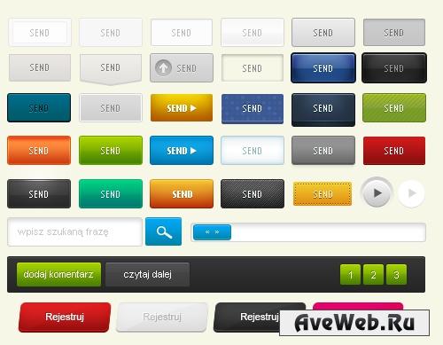 Кнопки и значки для сайта в PSD