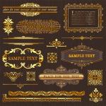 Золотые, винтажные узоры и рамки